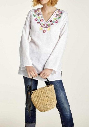 Linen tunic with embroidery, offwhite