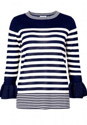 Mėlynas dryžuotas merino vilnos megztinis