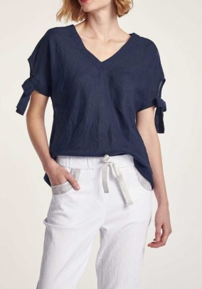 Linen blouse, midnight blue