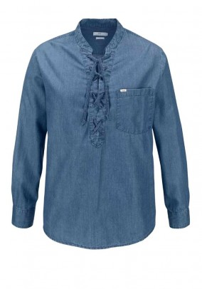 Denim blouse shirt, blue