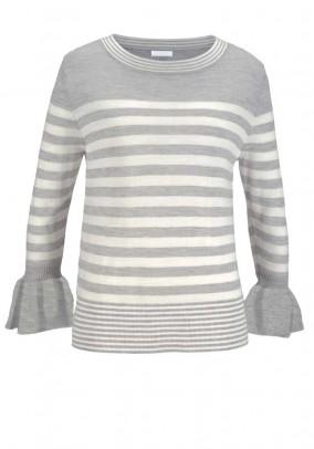 Pilkas dryžuotas merino vilnos megztinis
