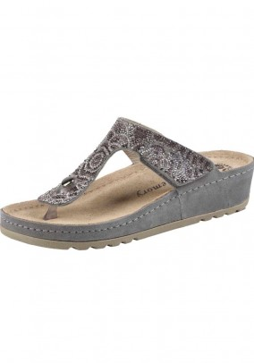 Sandal with strass, grey