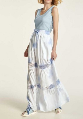Maxi skirt with lace, white-blue