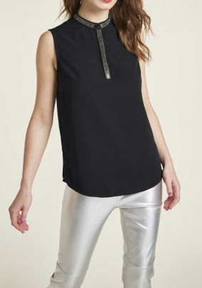 Blouse top with strass, black