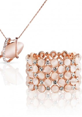 Watch and necklace with pendant, rose-gold plated