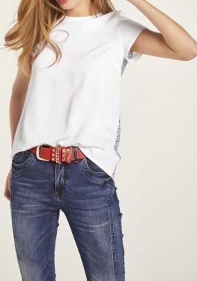 Print blouse, white-blue