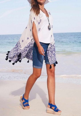 Blouse jacket with embroidery, offwhite-blue