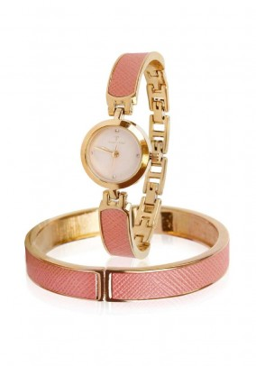 Watch and bracelet, gold-coloured
