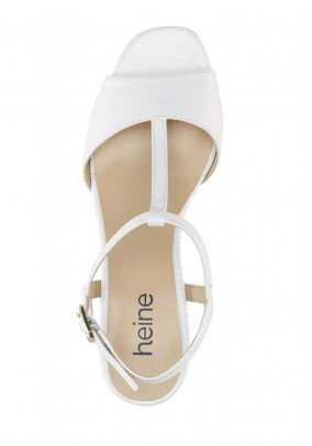 T-strap leather sandal, white