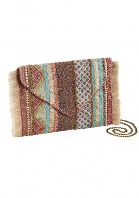 Clutch with beads, multicolour