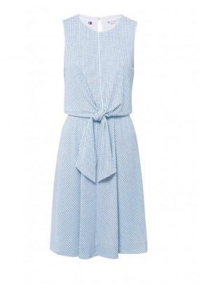 Dress Barbara Knot, white-blue-check