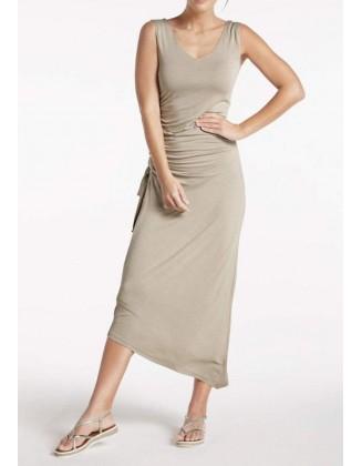 """Smėlinė midi ilgio suknelė """"Wrap"""""""