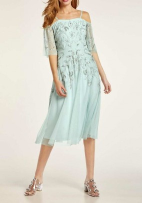Cocktail dress with bead embroidery, mint