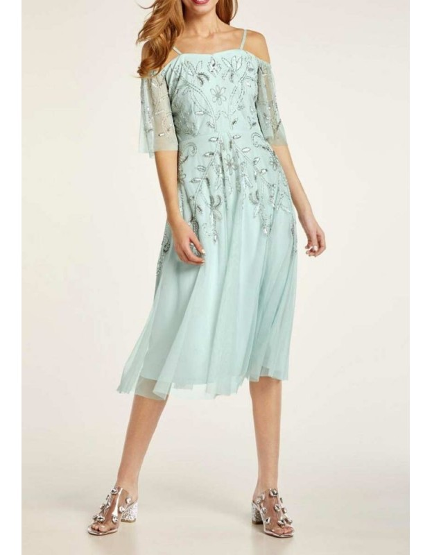 Puošni melsva siuvinėta suknelė
