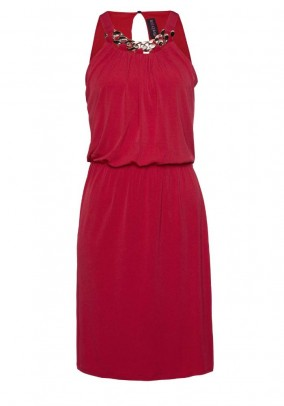 Jersey dress with chain, red