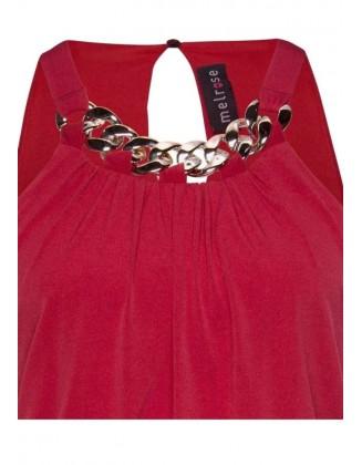 Raudona Melrose suknelė su grandinėle