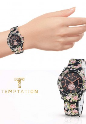 Branded ladies watch with rhinestone crystals, black-colored