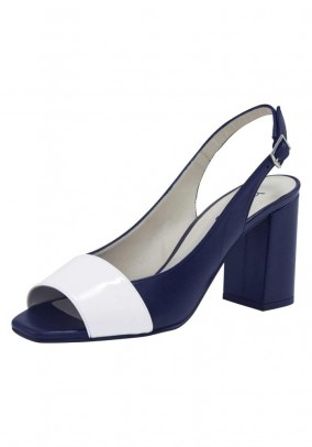 Sling leather sandals, navy white
