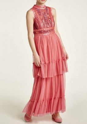 Evening gown with beads, coral