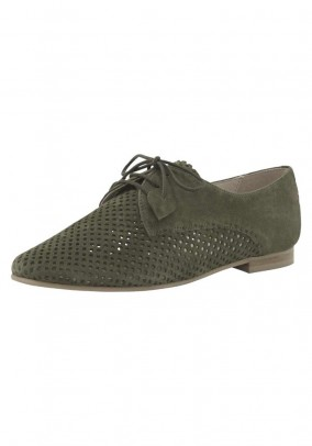 Velours leather lace-up shoe with cut-outs, olive