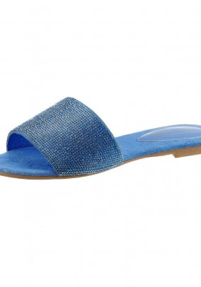 Leather mule with strass, blue