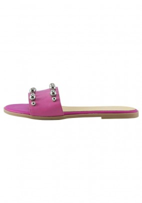 Leather mule wit beads, pink