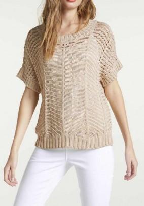 Smėlinis megztinis trumpomis rankovėmis