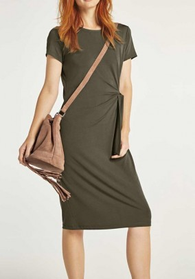 Jersey dress, khaki