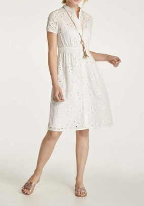 Dress with eyelet embroidery, offwhite