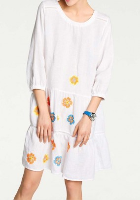 Linen dress with embroidery, white-multicolour