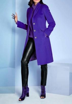 """Violetinis vilnos ir kašmyro paltas """"Lila"""". Liko 44 ir 46 dydis"""
