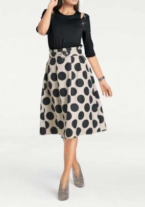 Taškuotas sijonas su diržu