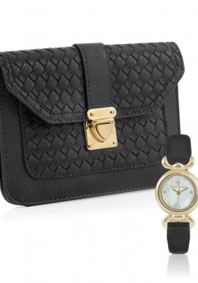 Women's watch and bag, black-gold coloured