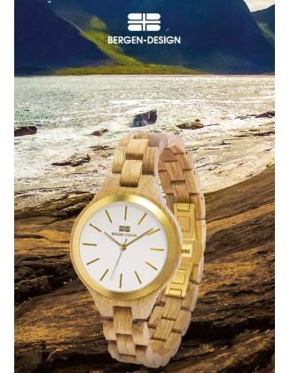 Šviesiai rudas Bergen-Design laikrodis
