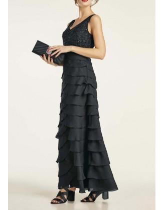 Ilga juoda vakarinė suknelė