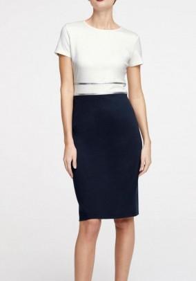 Sheath dress, ecru-navy