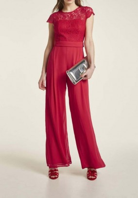 Chiffon jumpsuit with lace, red
