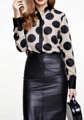 Print blouse, beige-black