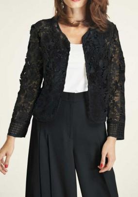 Lace blazer, black