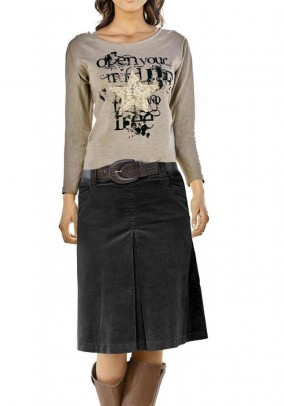 Corduroy skirt, black