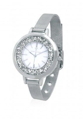 Women's watch with strass, silver coloured