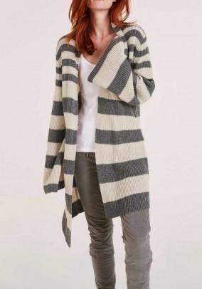 """Ilgas vilnonis dryžuotas megztinis """"Grey"""""""
