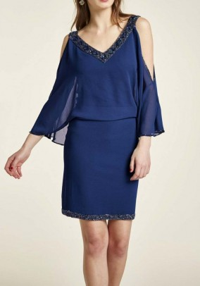 Cocktail dress with beads, navy