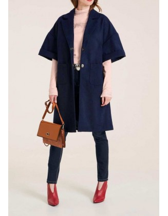 Mėlynas oversize paltas