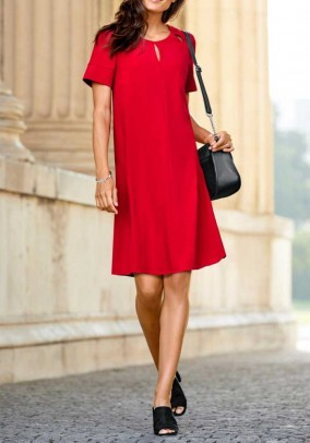 Dress with cut-outs, red