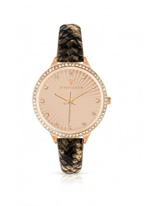 Women's watch with strass, rose - gold plated