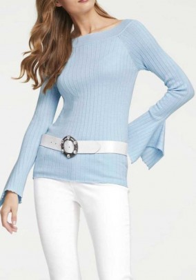 Rib knit sweater, blue