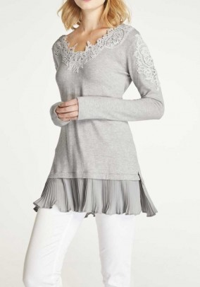 Fine knit sweater with lace, grey blend