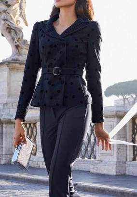 Wool jacket with belt, navy