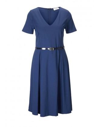 Mėlyna suknelė su diržu